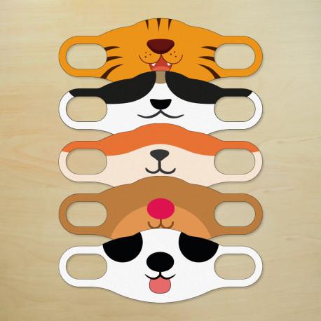 Kindermaske aus Textil, 5er Pack | Zoo